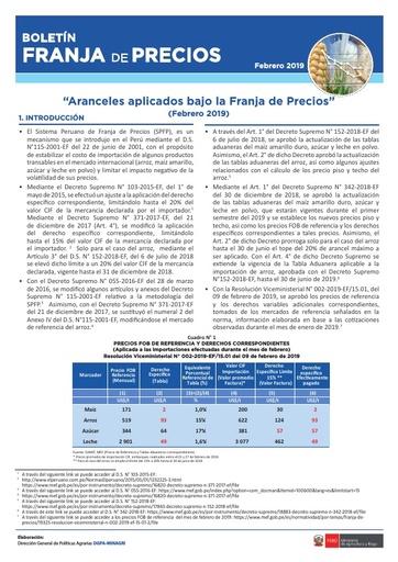 Boletín franja de precios - Febrero 2019