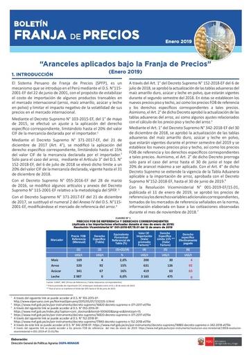 Boletín franja de precios - Enero 2019