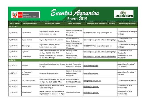 Eventos Agrarios Enero 2019