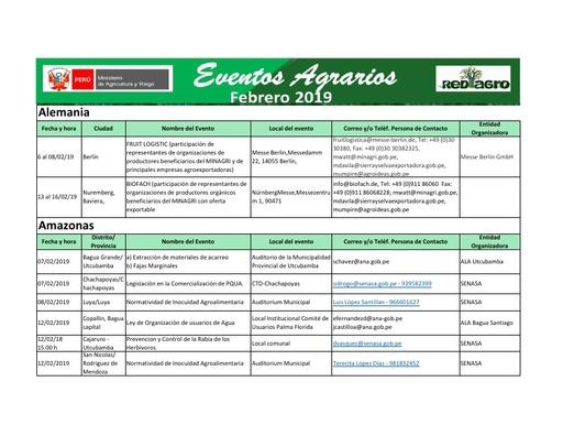 Eventos Agrarios Febrero 2019